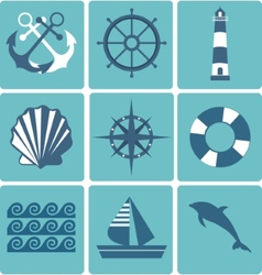 Flat icons collection marine set vector