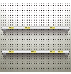 White pegboard background with shelves and price vector