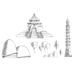 Sketch collection of buildings temples trees vector