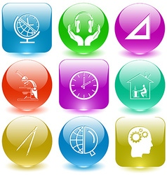Globe and clock headphones in hands triangle ruler vector