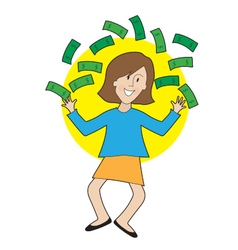 Happy lady and money vector