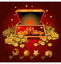 Open box with royal gold coins and magic keys vector