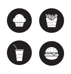 Fast food black icons set vector image