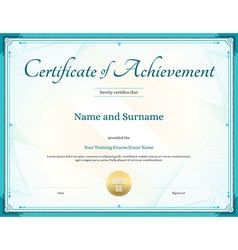 Certificate of achievement template green vector