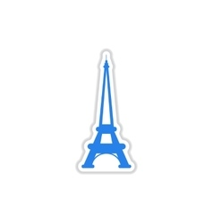Paper sticker on white background eiffel tower vector