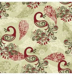 Seamless winter pattern with stylized peacocks vector