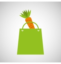 Bag shopping food icon tasty carrot vector