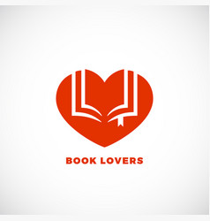Book lovers abstract sign emblem or logo vector