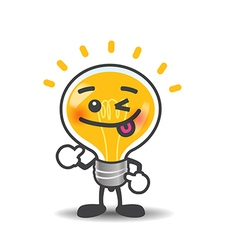 Bulb lamp cartoon isolated showing thumb up on the vector image vector image