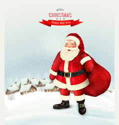 christmas holiday background with santa claus vector image vector image