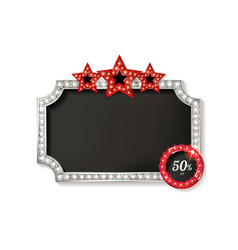 Cinema silver shape frame vector