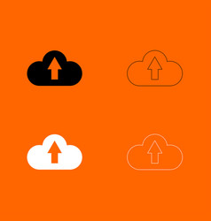 Cloud service black and white set icon vector