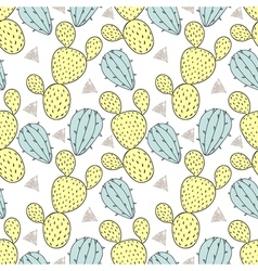 Color cactus seamless pattern hand drawn cacti vector
