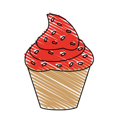 Delicious cupcake with sprinkles icon imag vector