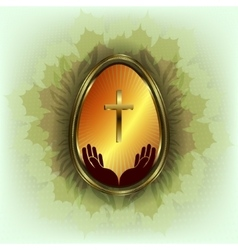 design of the Golden Easter eggs with frame vector image vector image