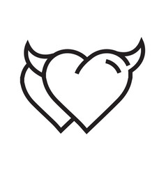 Devil heart icon twins vector
