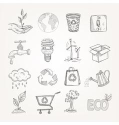 Doodles ecology set vector