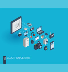 electronics integrated 3d web icons growth and vector image vector image