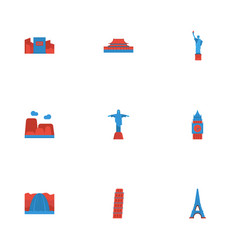 Flat icons japan drought rio and other vector