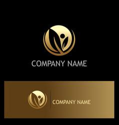 gold leaf organic company logo vector image vector image