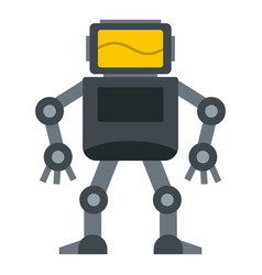 Grey robot with monitor head icon isolated vector
