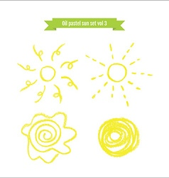 Hand drawn oil pastel sun set vector image vector image