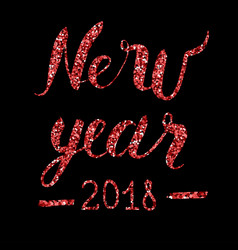 happy new year text with glitter elements vector image