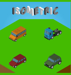 Isometric automobile set of car armored truck vector