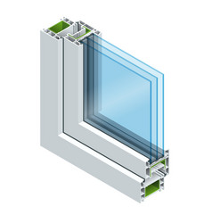 isometric cross-section diagram of a triple glazed vector image