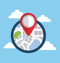 magnifying glass search zoom over navigation map vector image