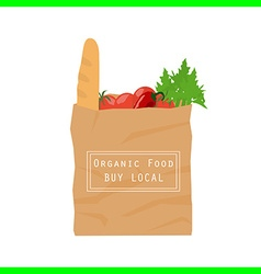 Organic food paper bag vector