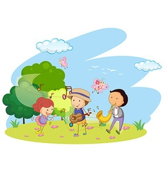 People playing music in garden vector