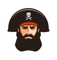 Pirate logo or label portrait of bearded man in vector