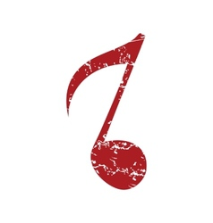 Red grunge musical note logo vector image