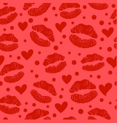 red lipstick kiss seamless pattern vector image vector image