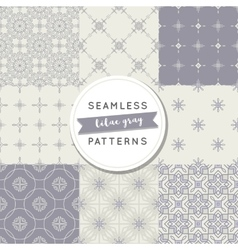 Seamless pattern sets lilac gray vector