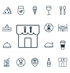 Set of 16 food icons includes dessert restaurant vector