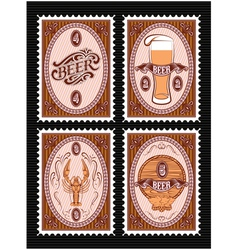 set of postage stamps with glass of beer keg lobst vector image