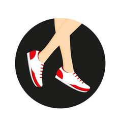 Sneakers on legs vector