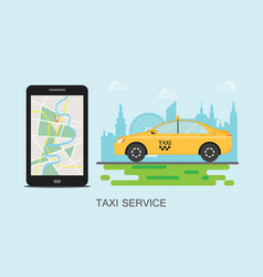 Taxi cab and mobile phone with map on city vector