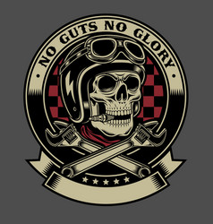 Vintage biker skull with crossed monkey wrenches vector