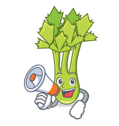 with megaphone celery character cartoon style vector image vector image