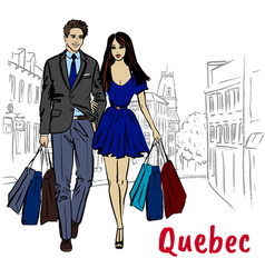 Woman and man with shoping bags vector