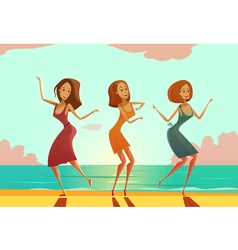 Women dancing on beach cartoon poster vector
