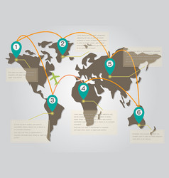 World map infographic with point symbol and text b vector