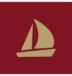 The sailboat icon sailing ship symbol flat vector