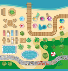 Swimming pool hotel resort layout template vector