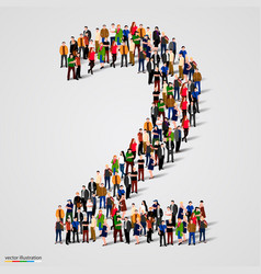 large group of people in number 2 two form vector image