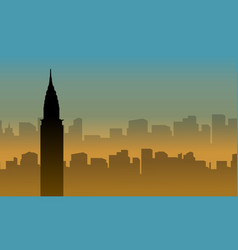 Silhouette of chrysler building scenery at sunset vector