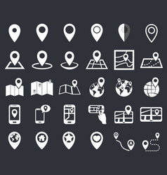 Map pointer icon set gps location navigation vector